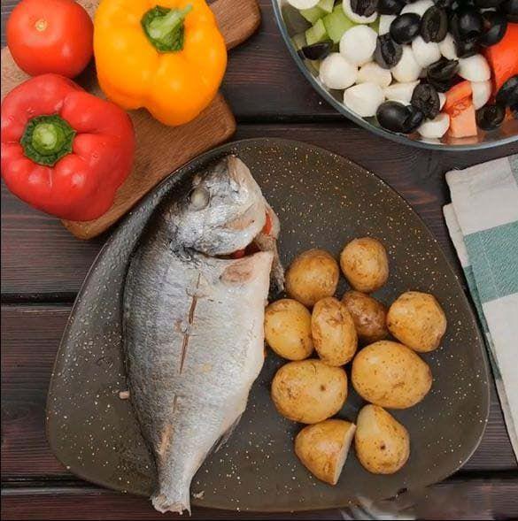 Дорадо с овощами в духовке.Пошаговый рецепт с фото